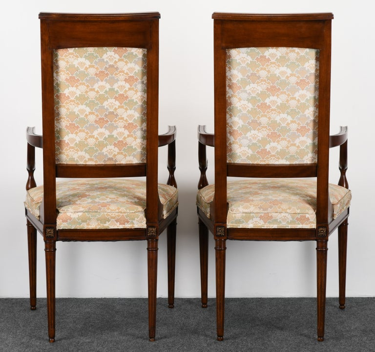 Upholstery Neoclassical Set of Eight Mahogany Dining Chairs, 1960s For Sale
