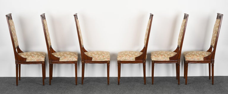 Neoclassical Set of Eight Mahogany Dining Chairs, 1960s For Sale 2