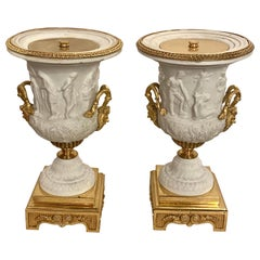 Neoclassical Sevres Parian and Doré Bronze Mounted Urns or Vases 1920s a Pair