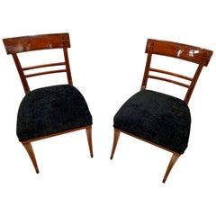 Neoclassical Side Chair, Mahogany, Ebony, Velvet, Vienna, circa 1820