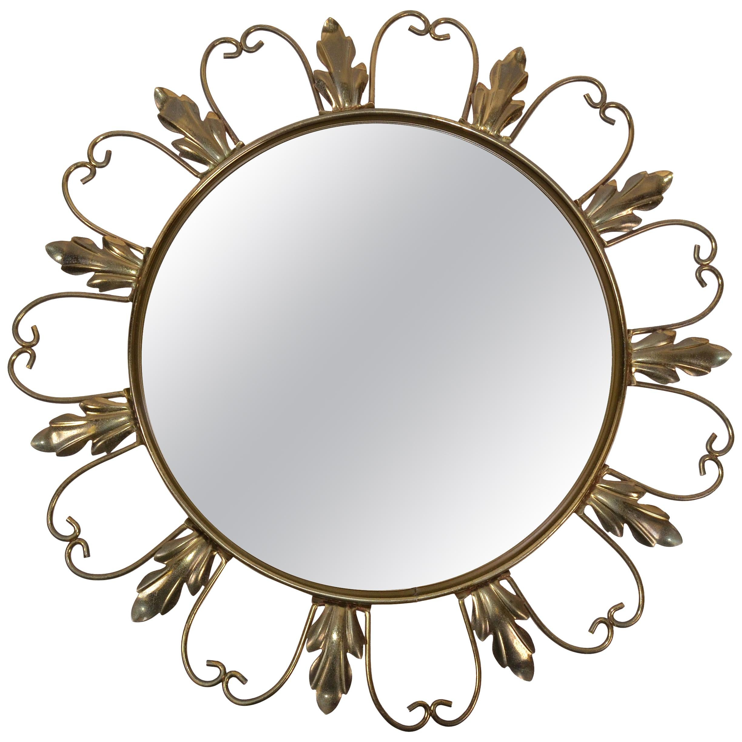 Neoclassical Signed 1950s Brass Sunburst Mirrors, Convex Mirror Made in Belgium
