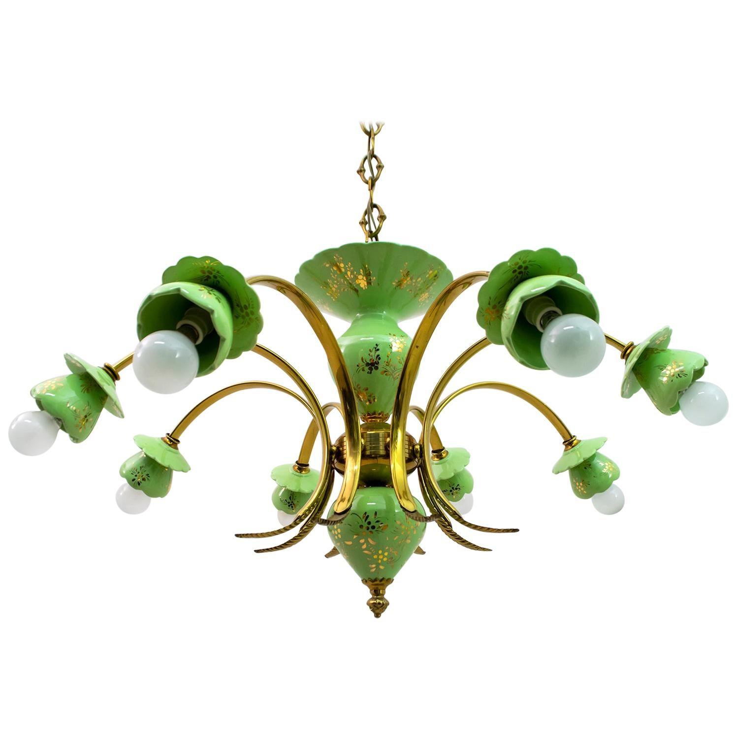 Neoclassical Style 8-Iight Italian Porcelain and Brass Chandelier, 1960s