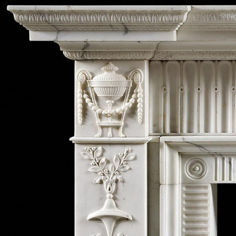 British Neoclassical Style Antique Fireplace Mantel For Sale