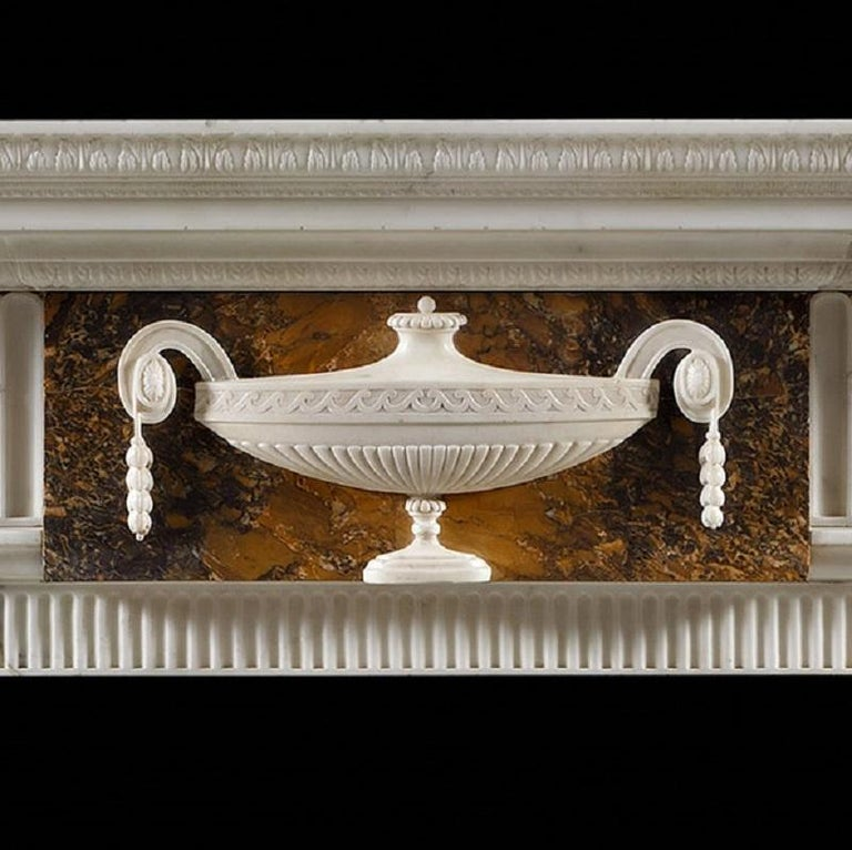 Carved Neoclassical Style Antique Fireplace Mantel For Sale
