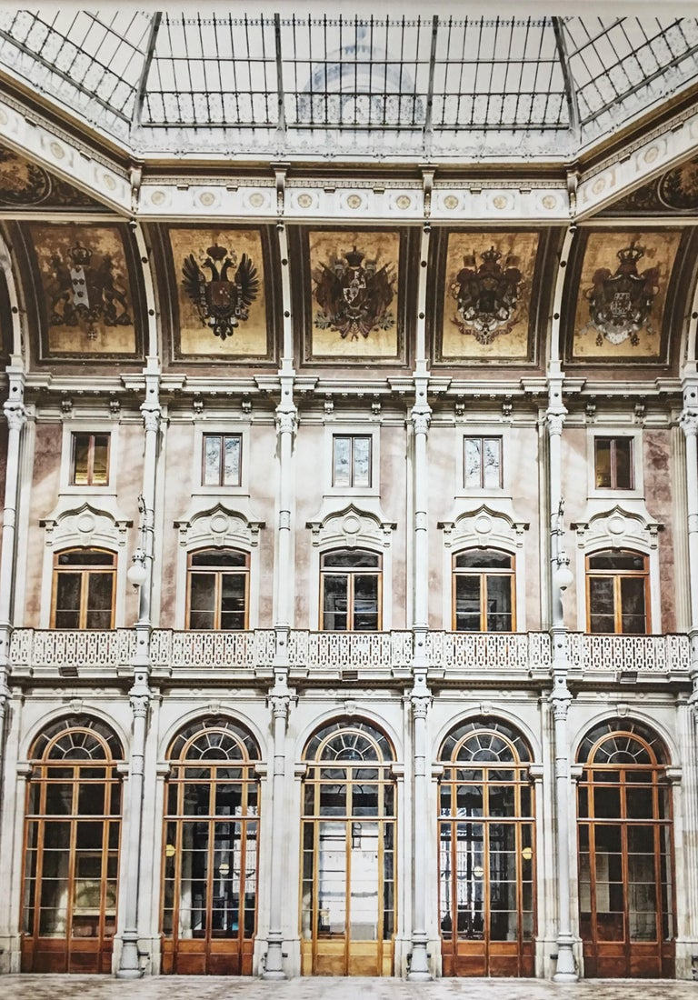 Large interior framed art photograph of the Stock Exchange Palace historical building in Porto, Portugal. The palace was built in the 19th century by the city's Commercial Association in neoclassical style. It is located in the Infante D. Henrique