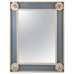 Neoclassical Style Blue and White Painted Mirror