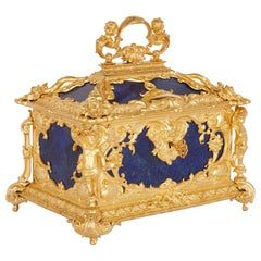 Neoclassical Style Blue Lapis Lazuli and Gilt Bronze Jewelry Casket