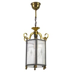Neoclassical Style Brass and Glass Hanging Hall Lantern