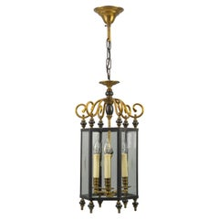 Neoclassical Style Brass and Glass Three-Light Hanging Hall Lantern