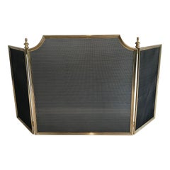 Neoclassical Style Brass and Grilling Fireplace Screen, French, Circa 1970