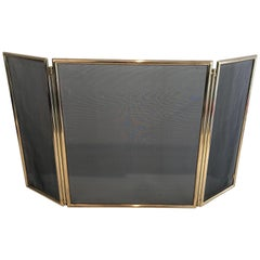 Neoclassical Style Brass and Grilling Folding Fireplace Screen, Circa 1970