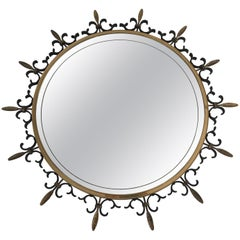 Neoclassical Style Brass and Iron Sunburst Mirror