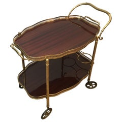 Neoclassical Style Brass and Mahogany Bar Cart with Removable Trays