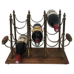 Neoclassical Style Brass and Wood Bottles Rack, circa 1960