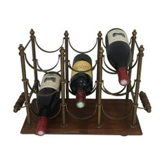 Neoclassical Style Brass and Wood Bottles Rack, French, circa 1970