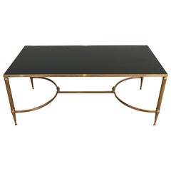 Neoclassical Style Brass Coffee Table with Black Lacquered Glass Top