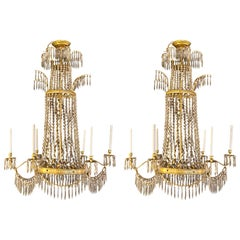 Neoclassical Style Bronze and Crystal Monumental Chandeliers, a Pair
