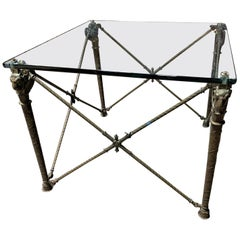 Neoclassical Style Bronze and Glass Ram's Head Cocktail Table