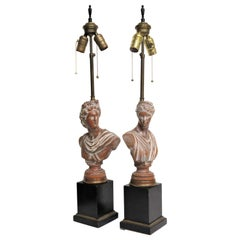 Neoclassical Style Bust Lamps of Daphne and Apollo