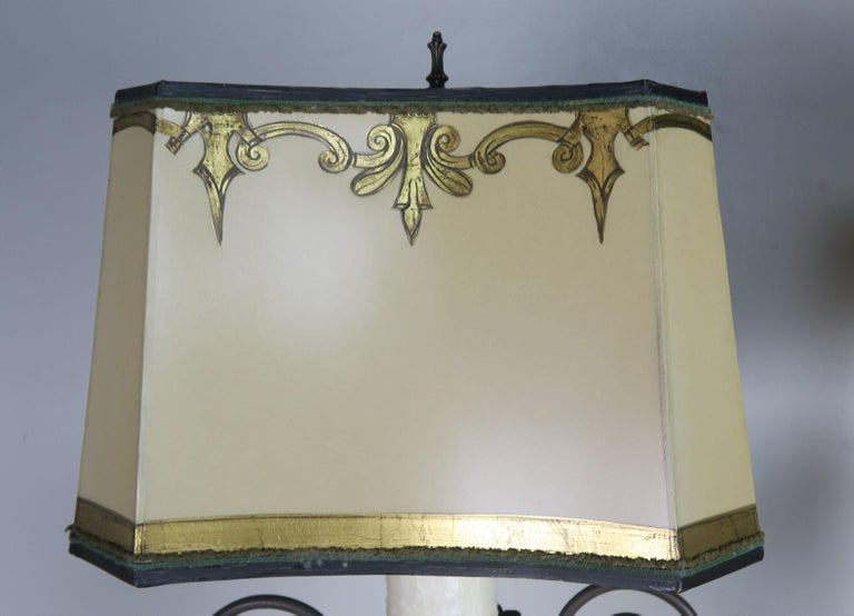 Hand-Painted Neoclassical Style Carved Urn Lamps with Parchment Shades, a Pair For Sale