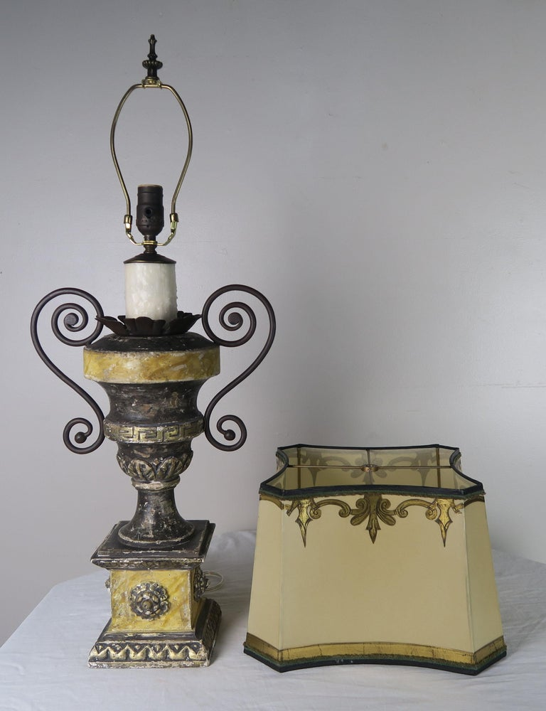 Iron Neoclassical Style Carved Urn Lamps with Parchment Shades, a Pair For Sale