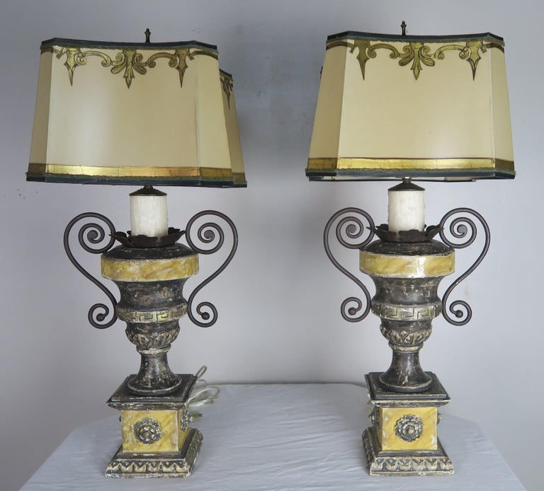 Neoclassical Style Carved Urn Lamps with Parchment Shades, a Pair For Sale 1