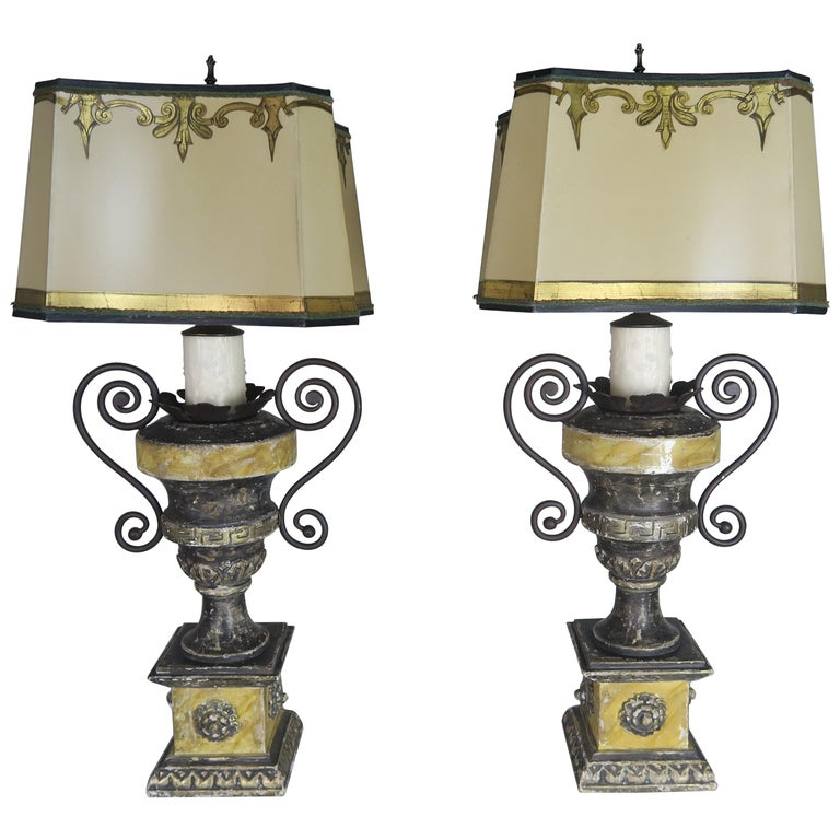 Neoclassical Style Carved Urn Lamps with Parchment Shades, a Pair For Sale