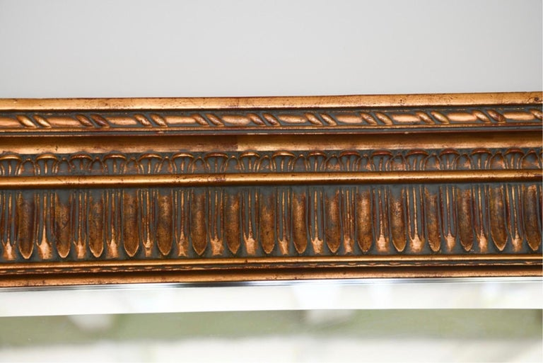 Neoclassical Style Carved Wood Frame over Mantle Mirror In Good Condition For Sale In Great Barrington, MA