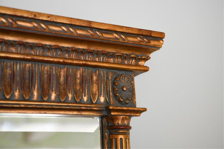 20th Century Neoclassical Style Carved Wood Frame over Mantle Mirror For Sale