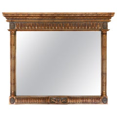 Neoclassical Style Carved Wood Frame over Mantle Mirror