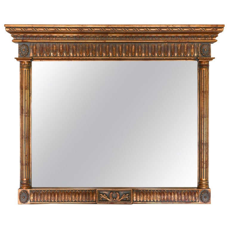 Neoclassical Style Carved Wood Frame over Mantle Mirror For Sale