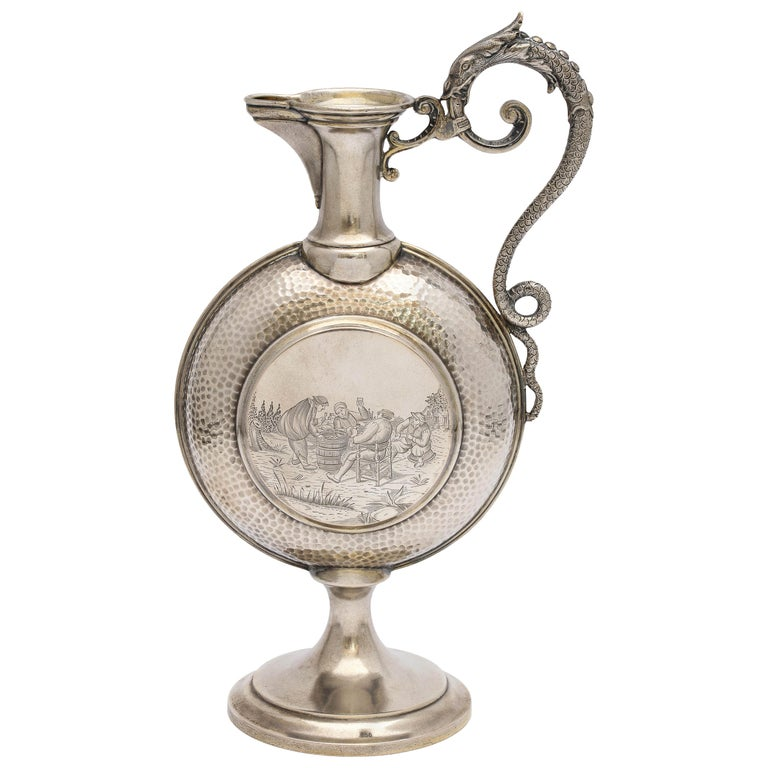 Neoclassical Style Continental Silver '.800' Ewer/Pitcher For Sale