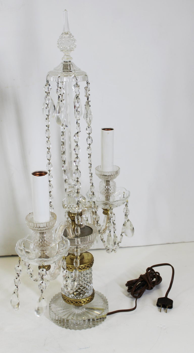 Neoclassical Style Czech Crystal Table Lamps For Sale 9
