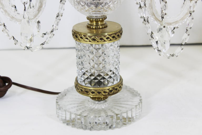 Neoclassical Style Czech Crystal Table Lamps For Sale 2