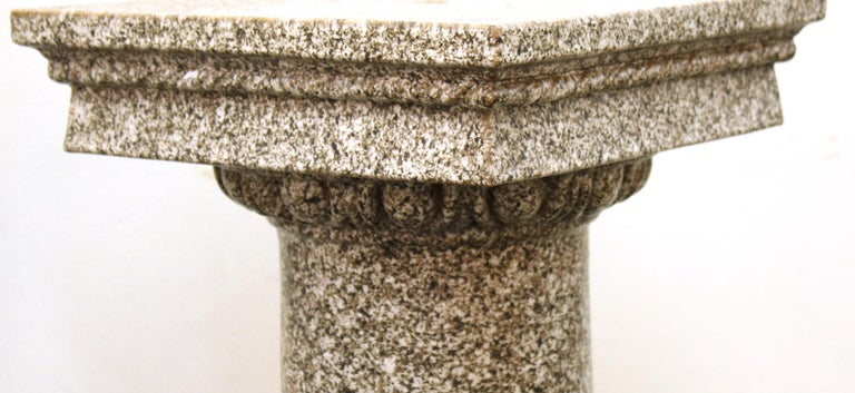 Neoclassical style terracotta pedestal, faux-painted to resemble granite. In great vintage condition with age-appropriate wear and use. Can be used for outdoor purposes.