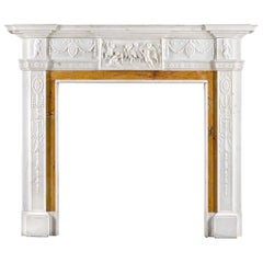 Neoclassical Style Fireplace in Statuary and Sienna Marble