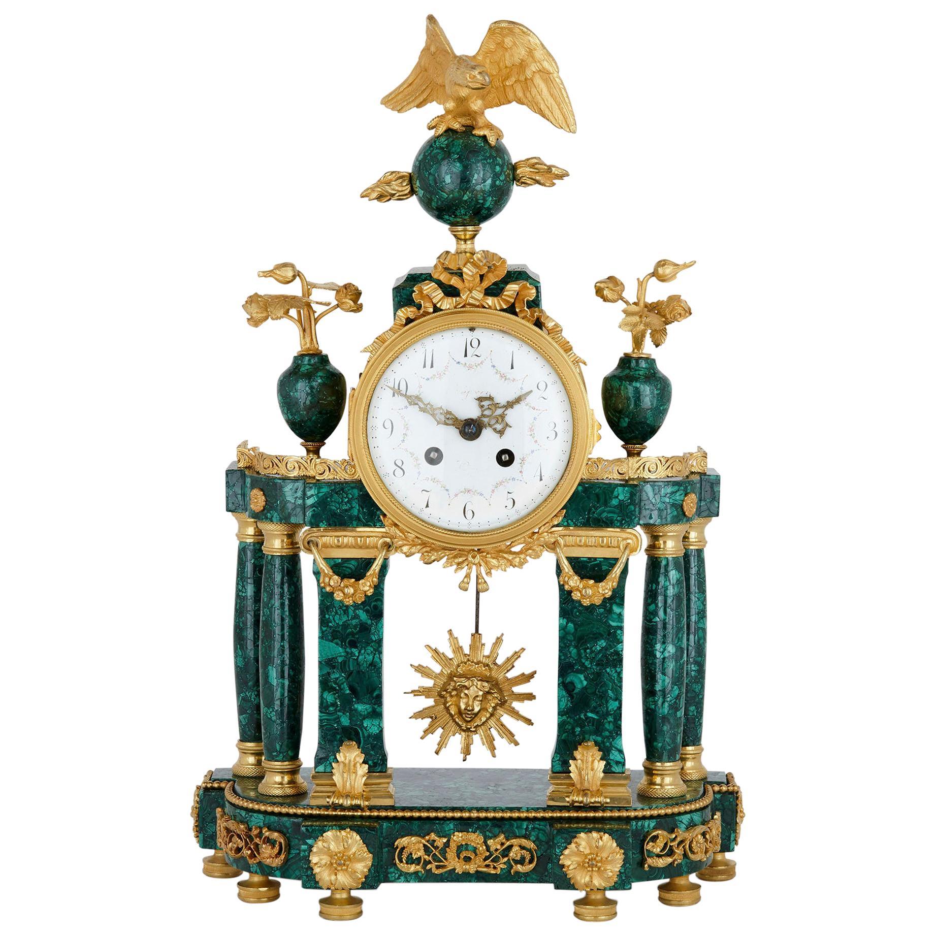 Neoclassical Style French Malachite and Gilt Bronze Mantel Clock