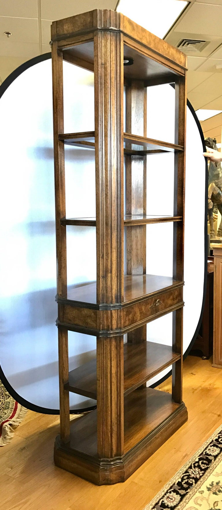 e52749beff36 Elegant pair of matching fruitwood lighted étagères or bookcases with five  shelves separated by one drawer