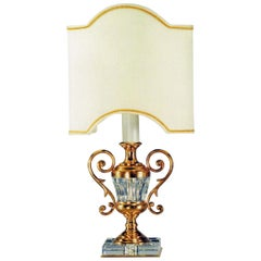 Neoclassical Style Gilt Bronze and Cut Crystal Lamp By Gherardo Degli Albizzi