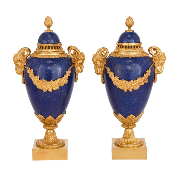 Neoclassical Style Gilt Bronze And Lapis Lazuli Vase Garniture At