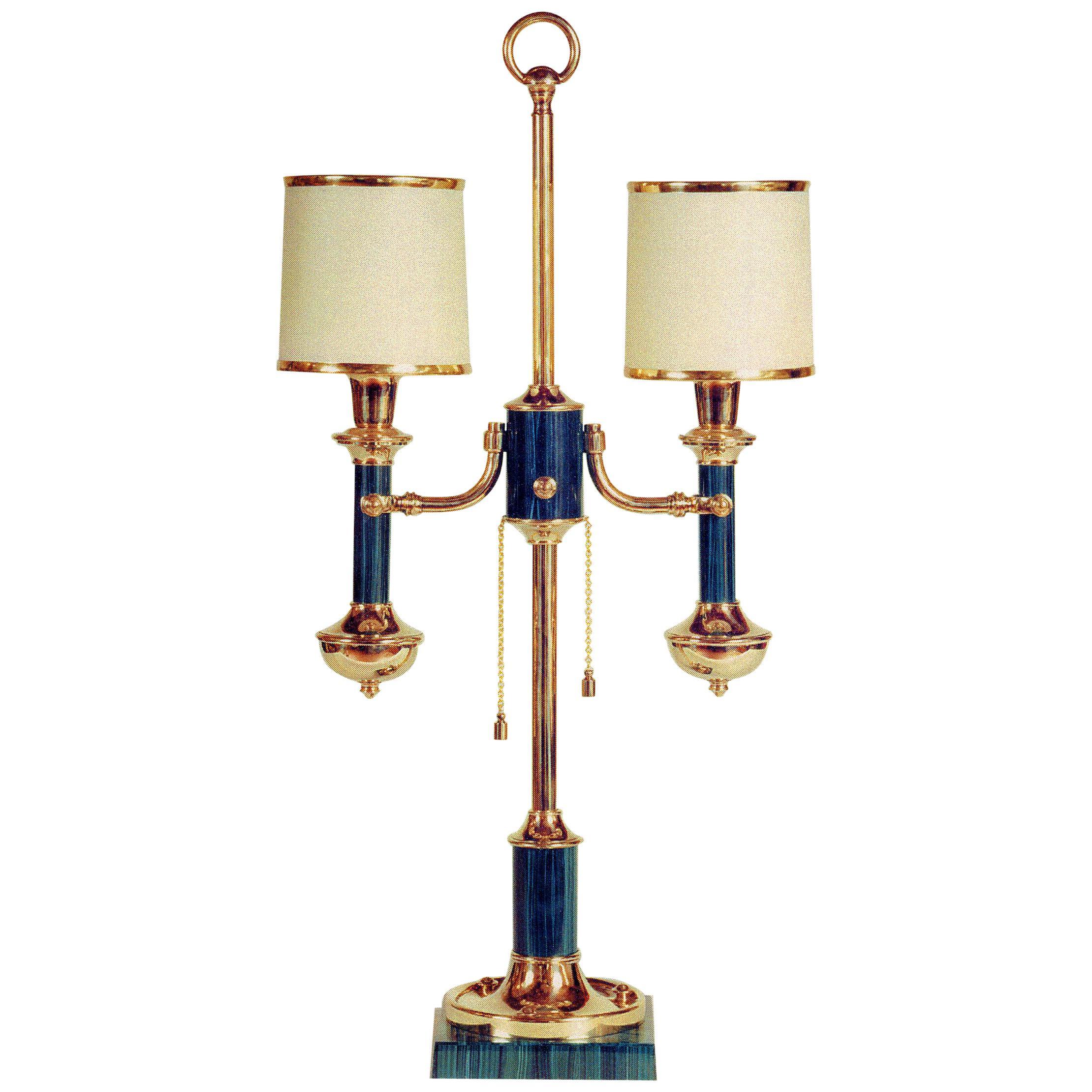 Neoclassical Style Gilt Bronze and Malachite Lamp By Gherardo Degli Albizzi