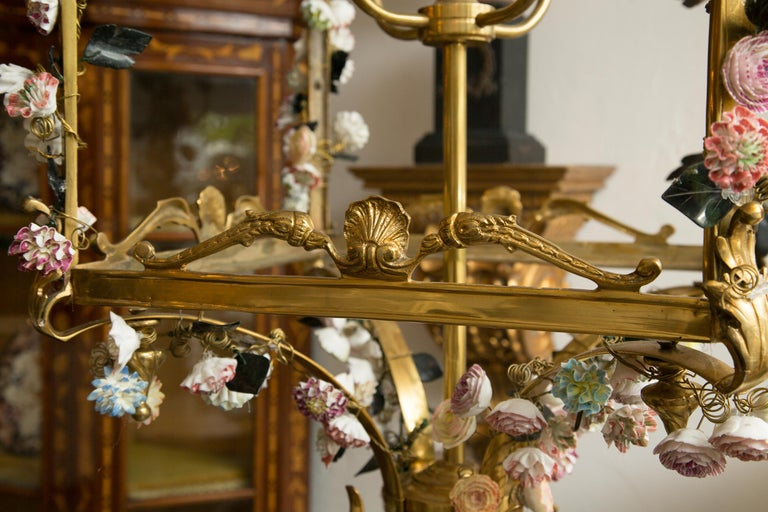 19th Century Neoclassical Style Gilt Bronze Chandelier with Porcelain Decoration For Sale