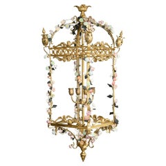 Neoclassical Style Gilt Bronze Chandelier with Porcelain Decoration