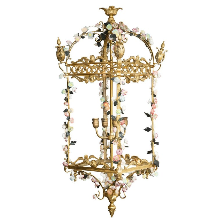 Neoclassical Style Gilt Bronze Chandelier with Porcelain Decoration For Sale