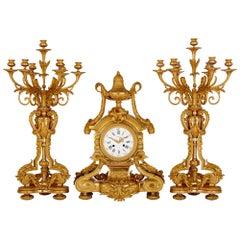 Neoclassical Style Gilt Bronze Clock Set by Henri Picard and Raingo Freres