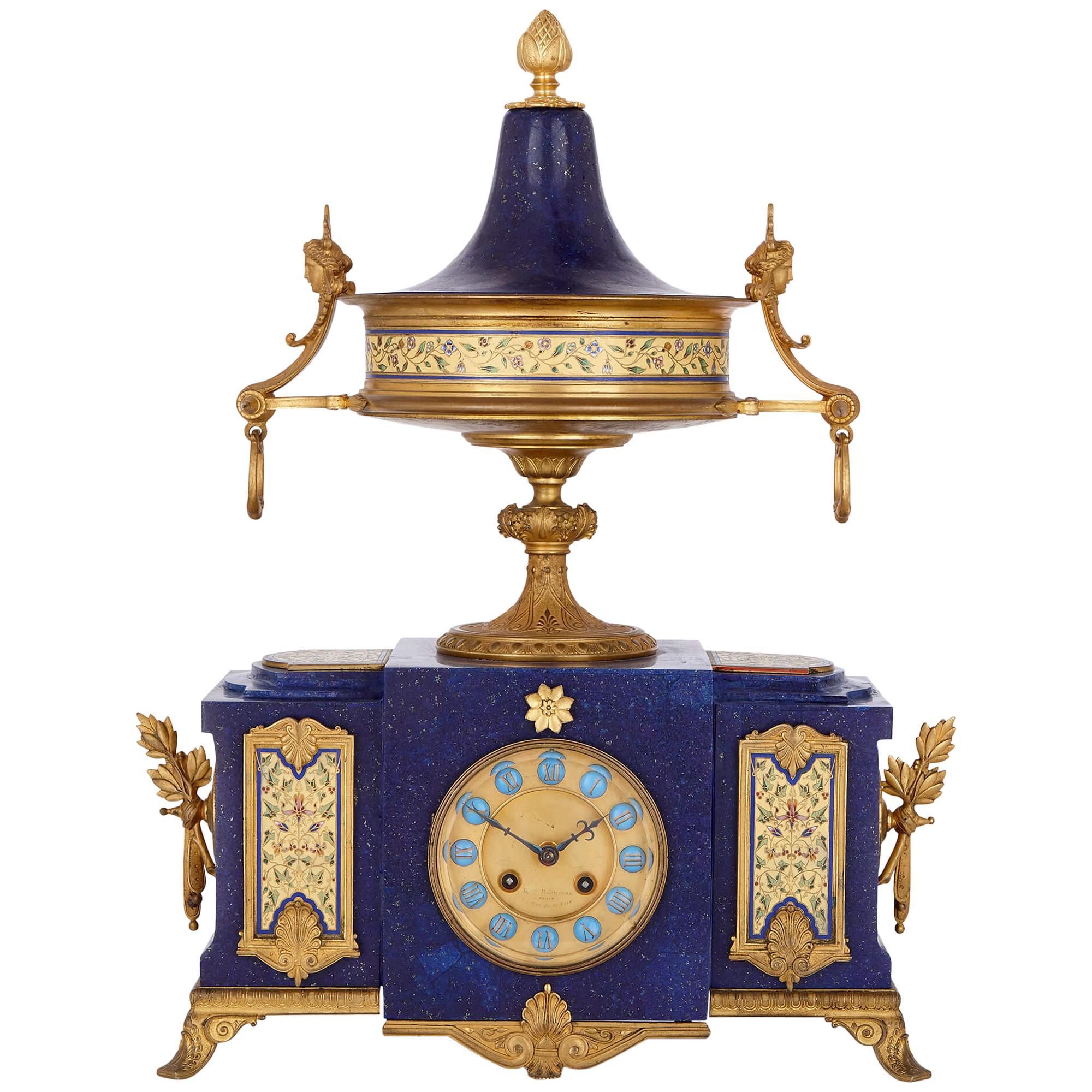 Neoclassical Style Gilt Bronze, Enamel and Lapis Lazuli Mantel Clock
