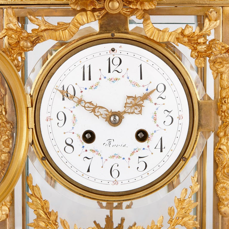 French Neoclassical Style Gilt Bronze Mounted Glass and Marble Mantel Clock  For Sale