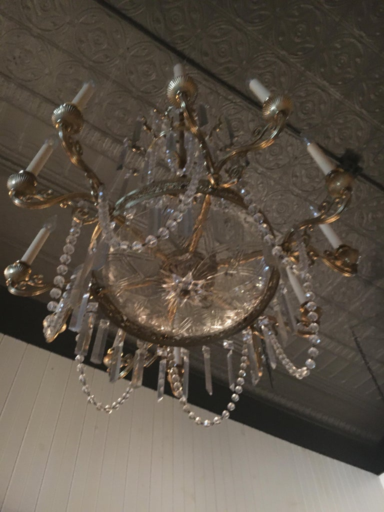 French Neoclassical Style Gilt Bronze Twelve-Light Crystal Chandelier.  Great scale. For Sale