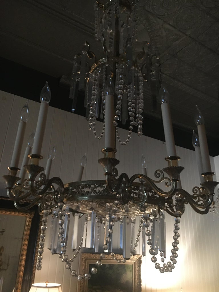 19th Century Neoclassical Style Gilt Bronze Twelve-Light Crystal Chandelier.  Great scale. For Sale