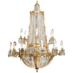 Neoclassical Style Gilt Ormolu and Cut Glass Two-Tier Basket Chandelier